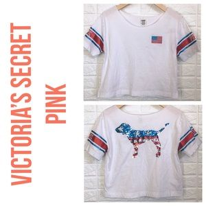 VS Pink red white blue sequin doggy crop tee